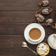 Coffee cup and sweets on vintage wooden table, top view - PhotoDune Item for Sale