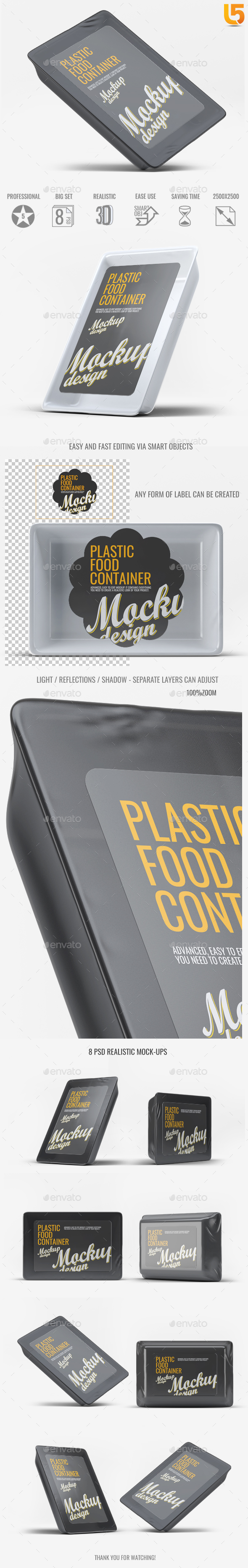 Plastic Food Tray Mock-Up - Food and Drink Packaging