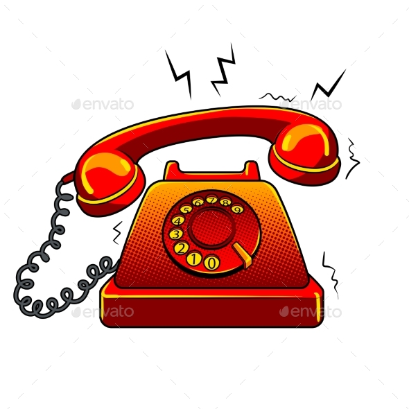 Red Hot Old Phone Pop Art Vector Illustration - Miscellaneous Vectors