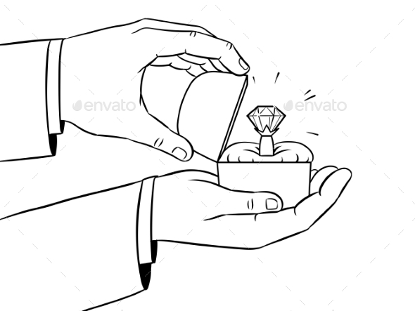 Hands Precious Ring Coloring Vector Illustration - People Characters