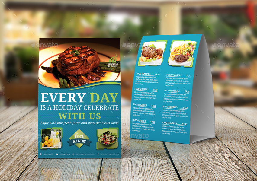 Restaurant Table Tent Template Vol By OWPictures GraphicRiver - Restaurant table tent template