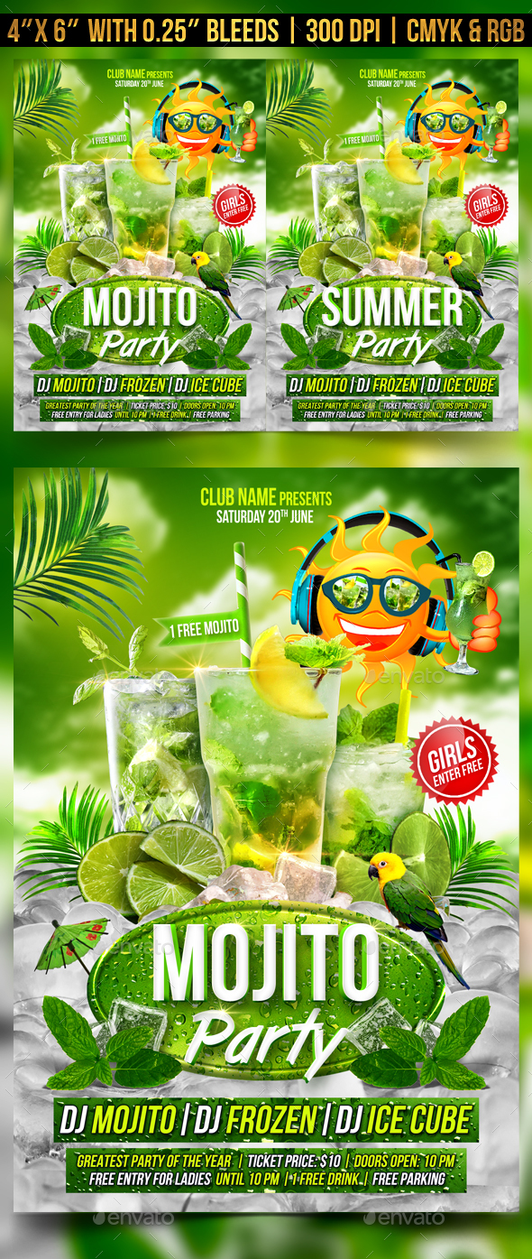 Mojito Party Flyer Template - Clubs & Parties Events