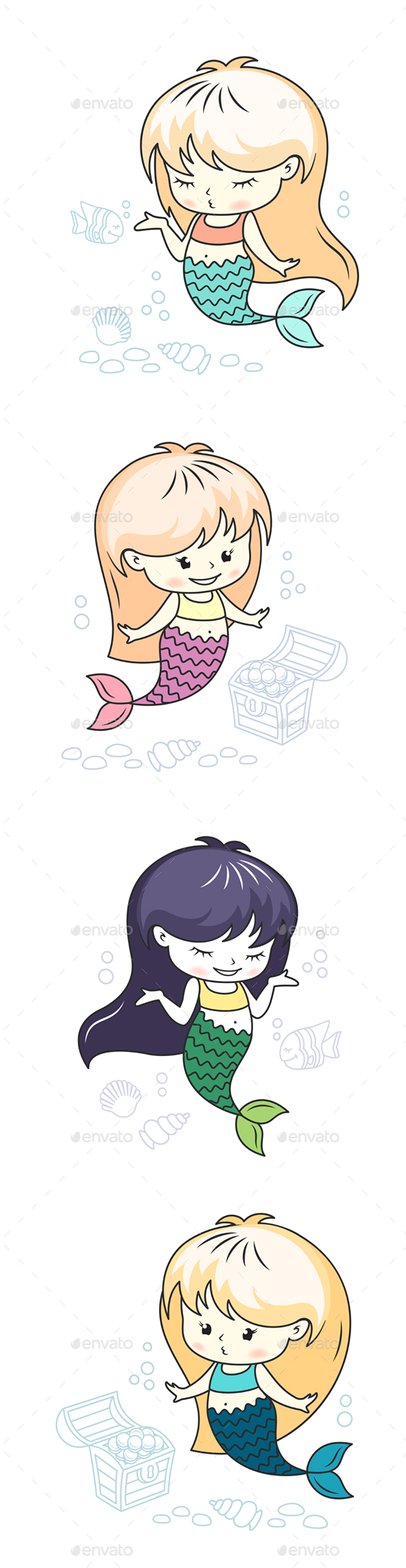 Little Mermaid Illustrations Set - Animals Characters