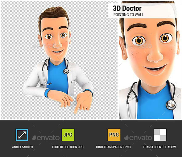 3D Doctor Pointing to Empty Wall - Characters 3D Renders