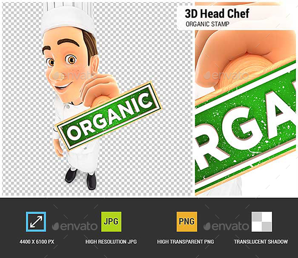 3D Head Chef Organic Stamp - Characters 3D Renders