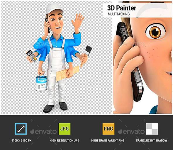 3D Painter Multitasking - Characters 3D Renders