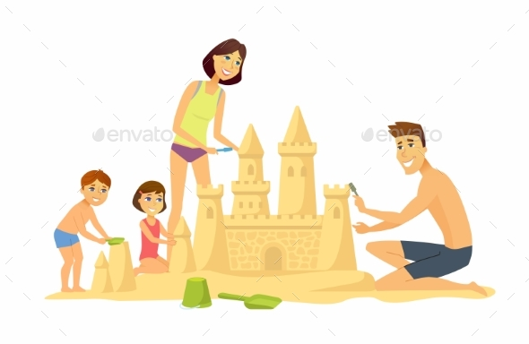 Children on the Beach - Cartoon People - People Characters