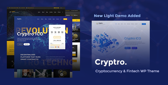 Cryptro - Cryptocurrency, Blockchain , Bitcoin & Financial Technology WordPress Theme