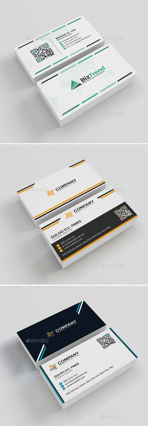 3 In 1 Business Card Bundle V.3 - Business Cards Print Templates