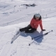 Skier Woman Fell On The Ski Slope And Trying To Stand On The Feet - VideoHive Item for Sale