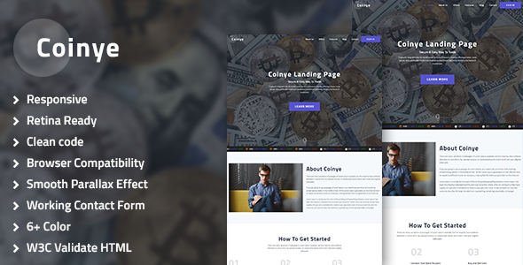 Coinye - Bitcoin & Ethereum, Crypto Currency Multipurpose HTML Template - Marketing Corporate