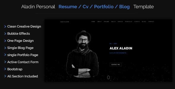 Aladin - Personal CV/Resume Portfolio Template - Personal Site Templates