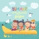 Kids Riding a Banana Boat - GraphicRiver Item for Sale