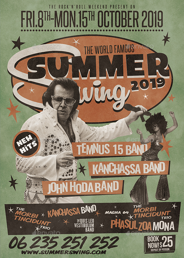 A3 Retro Summer Poster / Flyer Music Template