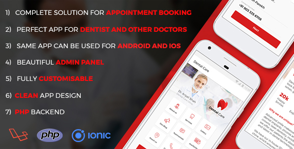 Dentist and other Doctors Appointment IONIC 3 App with PHP Backend | Complete App - CodeCanyon Item for Sale