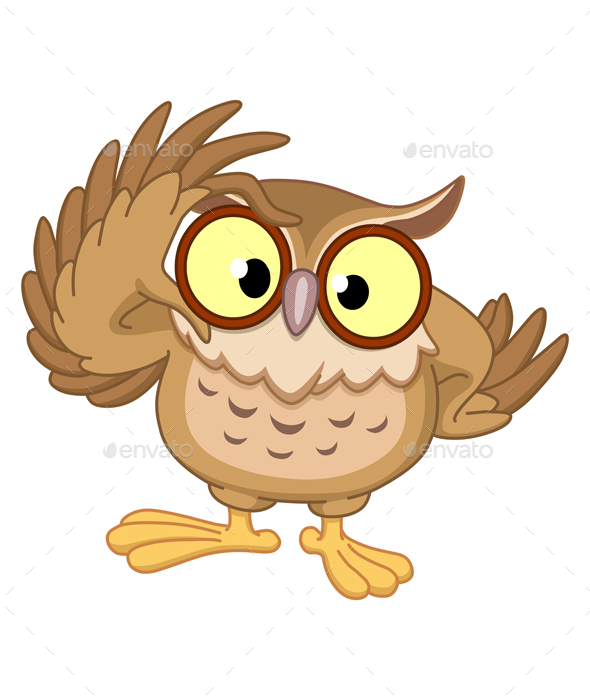 Owl with Glasses - Animals Characters