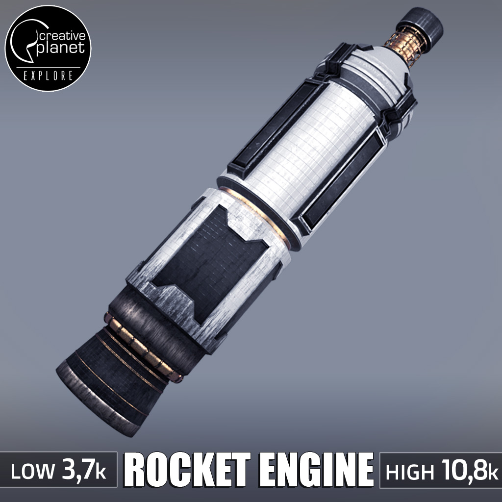 Rocket space small engine low poly