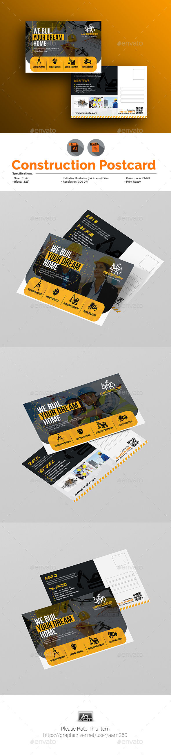 Construction Firm Postcard Template by aam360 | GraphicRiver
