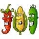 Vegetable. Set Pepper, Corn, Cucumber