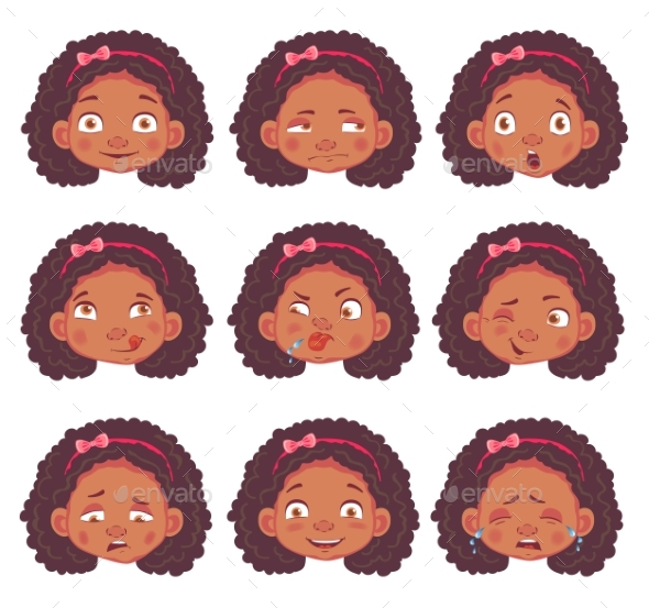 African Girl Set - People Characters