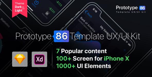 Prototype 86 Template UX/UI Kit - Sketch Templates