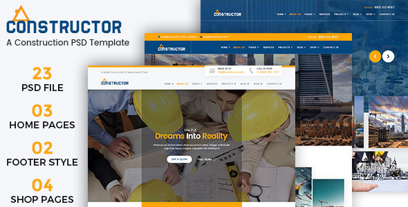 Constructor – A Construction Building PSD Template