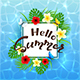 Water Background and Text Hello Summer with Flowers - GraphicRiver Item for Sale