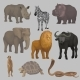 Wild African Animals Set, Hippopotamus, Elephant - GraphicRiver Item for Sale
