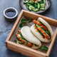 Gua bao, chinese steamed buns, with pork belly in a wooden box - PhotoDune Item for Sale
