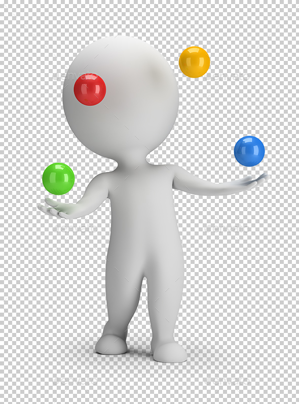 3D Small People - Throws Balls - Characters 3D Renders