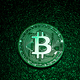 A coin with bitcoin logo in a green lighting. - PhotoDune Item for Sale