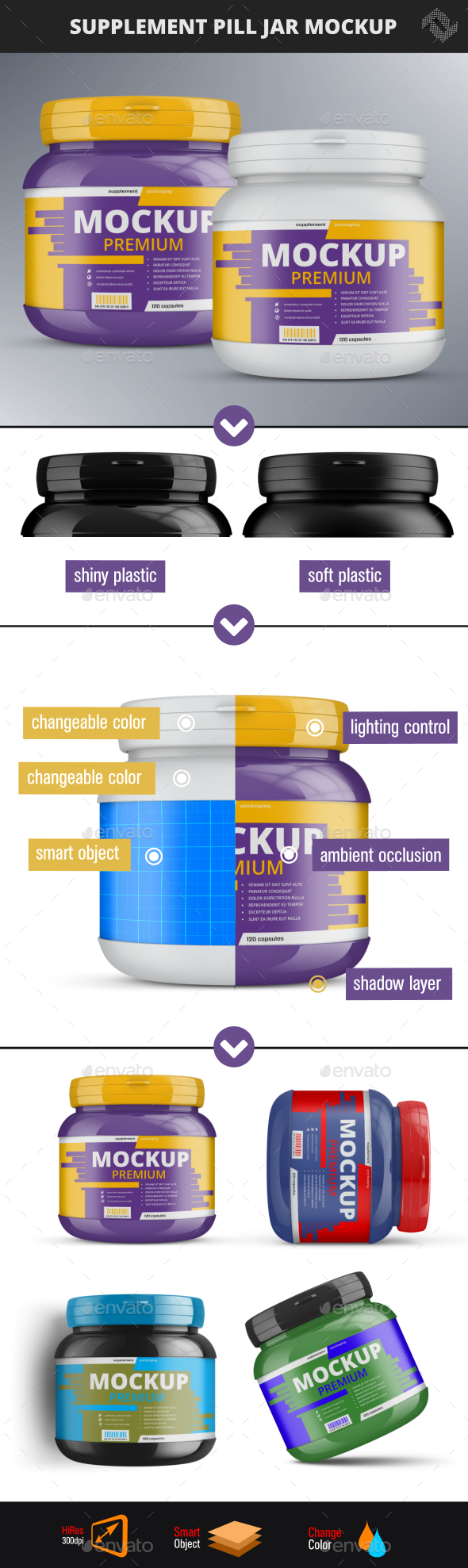 Supplement Pill Jar Mockup - Packaging Product Mock-Ups