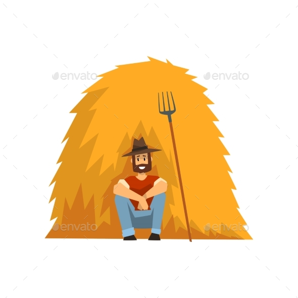 Farmer Resting Sitting By the Haystack Vector - People Characters