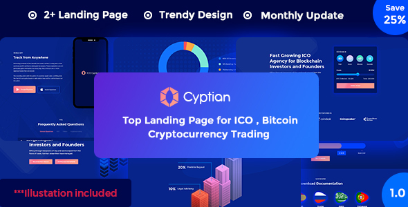 ICO Cryptian – ICO, Bitcoin and Cryptocurrency Landing Page PSD Template