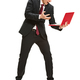 Full body portrait of businessman with laptop on white - PhotoDune Item for Sale