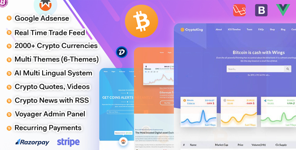 CryptoKing - Live Feed Crypto Currency Script with Subscriptions            Nulled