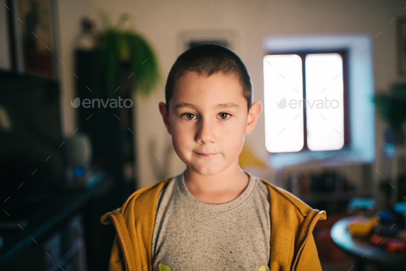 Boy in his home - Stock Photo - Images