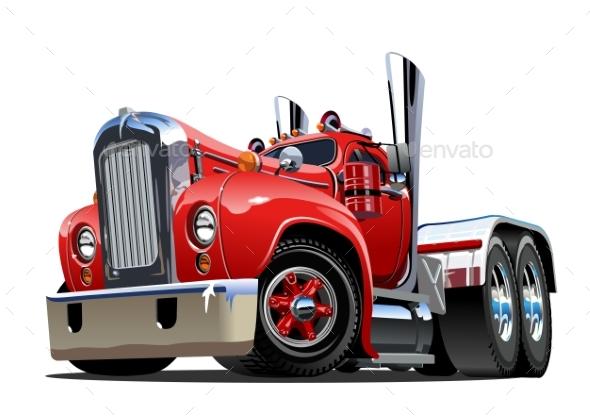 Cartoon Retro Semi Truck - Man-made Objects Objects