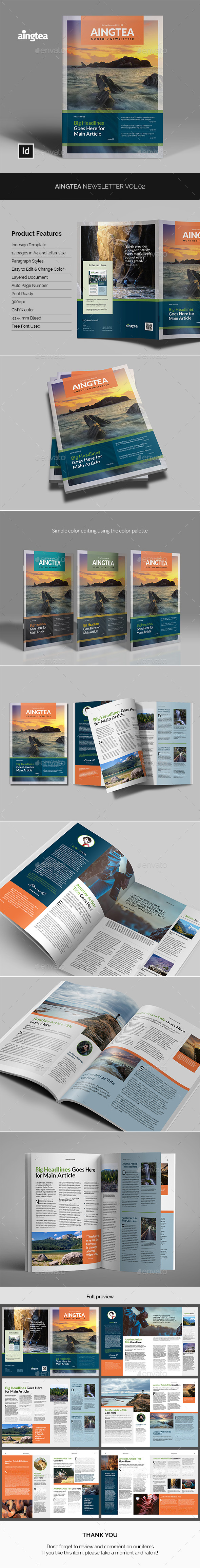 Aingtea Newsletter Vol.02 - Newsletters Print Templates