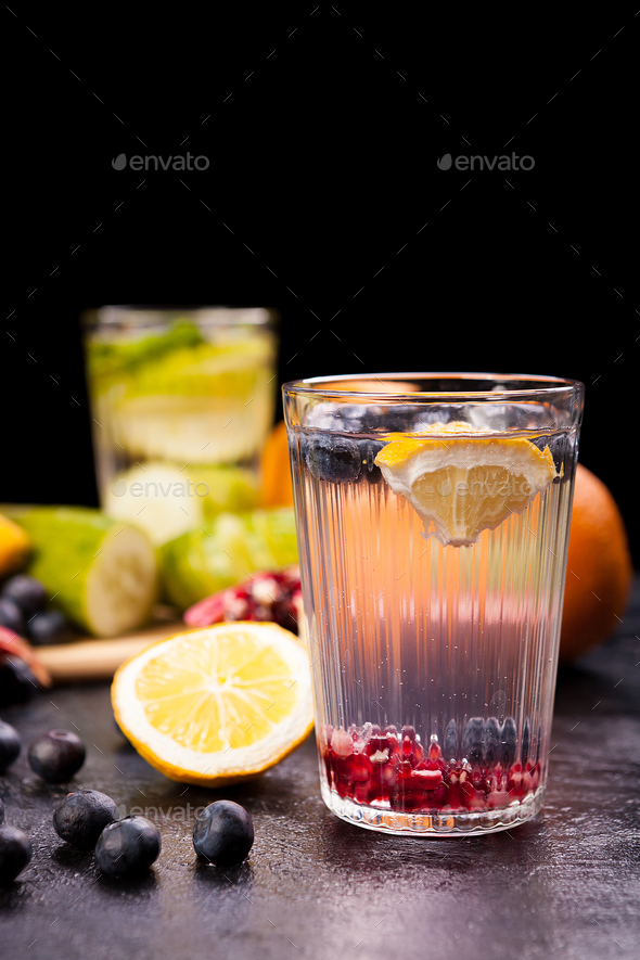 Healthy homemade lemonade from different organic fruits - Stock Photo - Images