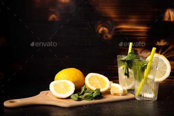 Refreshing lemonade made of fresh lemons - Stock Photo - Images