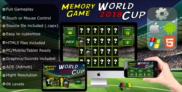 World Cup 2018 (soccer) - Memory Game - CAPX (HTML5 and Mobile) - CodeCanyon Item for Sale