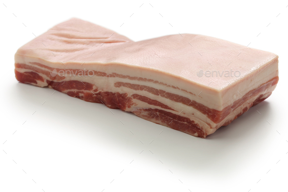 raw pork belly with rind - Stock Photo - Images