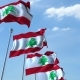 Waving Flags of Lebanon Against the Sky - VideoHive Item for Sale