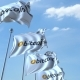 Waving Flags with Bitcoin Logo Against the Sky - VideoHive Item for Sale