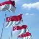 Waving Flags of Singapore Against the Sky - VideoHive Item for Sale