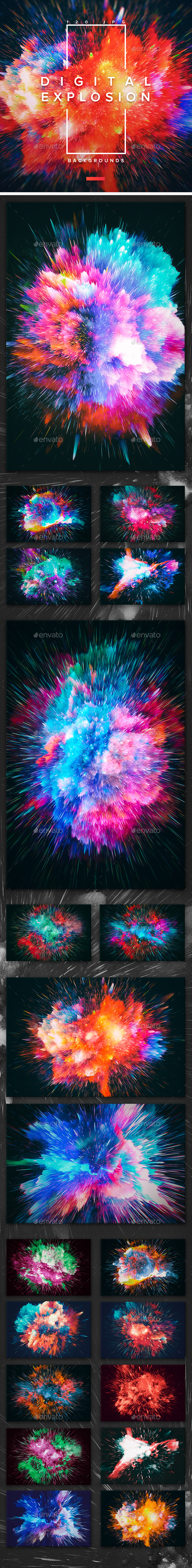 120 Digital Explosion Backgrounds - Abstract Backgrounds