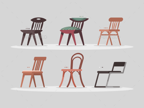 Set of Chairs for Home and Office Interior - Objects Vectors