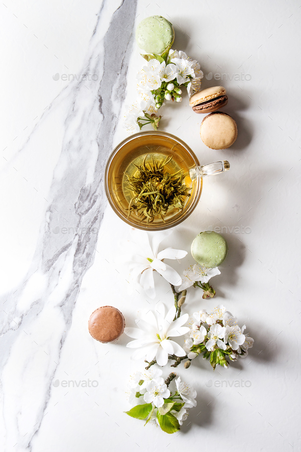 Tea with spring flowers - Stock Photo - Images