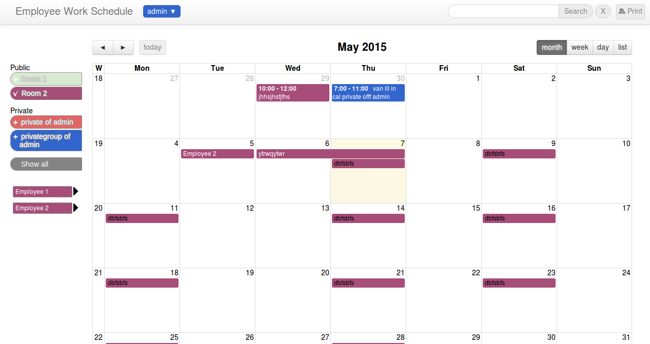 calendar for scheduling employees